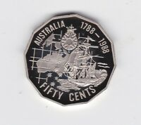 1988 50 cent First Fleet Bicentenary Ship Proof Coin Australia ex  Set