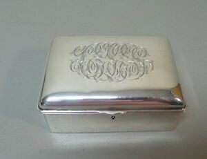 AMERICAN STERLING SILVER JEWELRY BOX, ORNATELY ENGRAVED MONOGRAM TOP, 285 grams