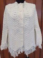 Vintage 70s Handmade Crochet Cream Cape Buttoned Sweater Poncho w/ Fringes S/M