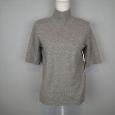 Nanette Lepore Sz xl Gray 100% 2 Ply Cashmere Mockneck Sweater short sleeve oj