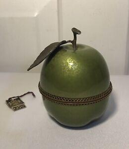 Vintage Evans Guilloche Enamel Green Apple Lighter Holder Case No Lighter