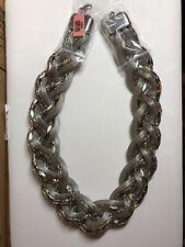 Silver Tone Multi Strand Braided Metal Mesh Chain Necklace