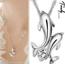 Trendy Women Double Dolphin Crystal Stone Silver Plated Chain Pendant Necklace