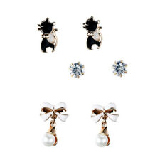 Gold Enamel Black & White Sparkly Crystal Stud Earrings Set, by JADA Collections