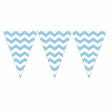 9ft Pastel Blue Chevron ZigZag Pennant Party Flag Banner Bunting Decoration