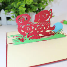 Greeting Card Animal Stereo Paper-cut Engraving Origami Dog Picture Color Jian