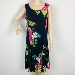 Susan Graver Liquid Knit Dress Medium Black Pink Floral Print Sleeveless Tank