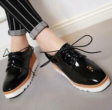 Fashion Womens Plus Size Wedge Heels Oxfords Platform Shoes Black Red US4-10