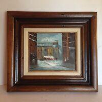 Vintage Original Artist Signed Oil Painting Victorian Paris City Street Framed