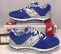 New Balance Mens Size 12 WIDE Low Metal Baseball Cleats Silver Blue Gray