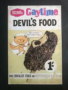 STREETS ICE CREAM GAYTIME DEVIL'S FOOD REPRODUCTION 1960's DISPLAY SIGN