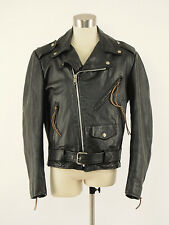 1970s EXCELLED Vintage Black Leather Classic Motorcycle Jacket Mens 38