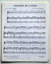 Partition sheet music FRANCIS LEMARQUE : Chanson de l'Exile * 70's