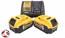 DEWALT 2 DCB205 20V 5Ah MAX Li-Ion Battery, DCB115 Charger for Drill Saw Grinder