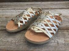 Kalso Earth sz 11 Razzle Gold Silver Multi Negative Heel Womens Sandals EUC