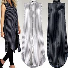 Women Buttons Down Stripe Casual Long Shirt Dress Asymmetrical Midi Dress Plus