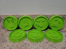 New listing Set Of 7 Pampered Chef Green Emoji Face Silicone Cookie Cutters