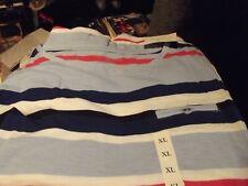 Croft & Barrow  Crew  Neck Blue White Stripe  Short Sleeve Casual Top Size XL