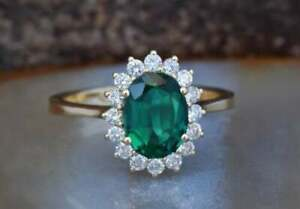 14K Solid Yellow Gold Rings 3.44 Carat Oval Cut Emerald Gemstone Diamond Ring