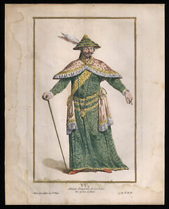 old art print YU emperor of CHINA 18 Th. HALDE hand painted