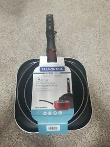 Tramontina Everyday Non-Stick Red Fry Pan & Griddle Set, 3 Piece