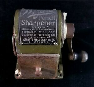 Antique 1919 Metal Wizard Pencil Sharpener by Automatic Chicago Illinois GOOD