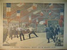 DUEL ESCRIME EPEE HARRY ALIS  ILE DE LA GRANDE JATTE LE PETIT JOURNAL 1895