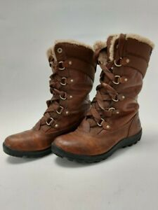 Timberland Waterproof Cordura Winter Boots Size 5 Brown Leather Fabric #107
