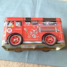 Vintage Tin Fire Truck Engine Collectible Bank With Lid & Rotating Wheels -Texco