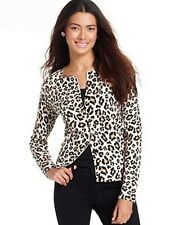 Cardigan Sweater NEW Womens Medium Large Black Tunic Leopard August Silk M54