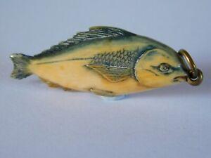 ANTIQUE JAPANESE  / CHINESE  CARVED FISH / CARP PENDANT / CHARM