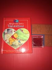 Winnie the Pooh Disney Stamp - Valentine Book & 3 Rubber Stamps Never Used