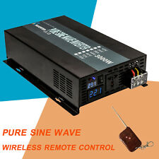 3000W Pure Sine Wave Power Inverter 12/24V DC to 110/220V AC Remote Control