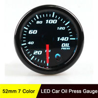 "Oil Press Pressure Pointer Gauge 140 PSI Meter Universal 2"" 52mm Smoke Lens"