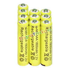 10x AAA battery batteries Bulk Nickel Hydride Rechargeable NI-MH 1800mAh 1.2V Ye