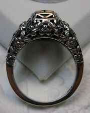 Edwardian *Sapphire* Sterling Silver Floral Garden Wedding Filigree Ring Size 8