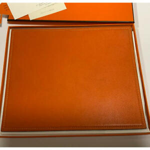 HERMES Mouse Pad Orange & Brown Leather Used Width 24.5cm Height 20cm