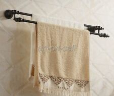 Modern Bathroom Wall Mount Black Oil Antique Brass Double  Towel Rail Bar aba822
