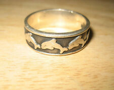 Vintage Sterling Silver Dolphins Swimming Around Band Toe or Thumb Ring Sz 11.5