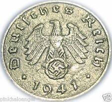Germany  German 1941B Reichspfennig Coin  Rare 3rd Reich World War 2