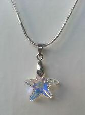 Kette silbern mit Swarovski Elements Kristall Seestern Stern Crystal AB