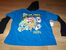 Size 14-16 Star Wars Angry Birds Hooded Long Sleeve T Shirt Top Turquoise Black
