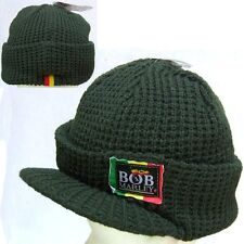 BOB MARLEY RASTA PATCH GREEN VISOR BILLED BEANIE HAT NEW NWT OFFICIAL