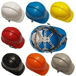 Vented Safety Helmet Hard Hat Adjustable Internal Harness /& Chin Strap White