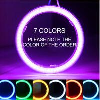 2X Angel Eyes LED COB Chip Car Headlight Halo Ring Light DRL Fog White 70-100MM