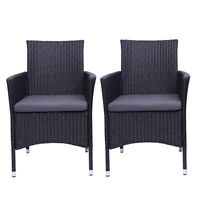2 Piece Outdoor Patio Outdoor Dining Black Rattan Wicker Chairs w/ Gray Cushion