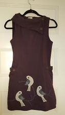 Synergy Organic Dress Foldover Collar Purple Embroidered Bird Size Small Fits XS