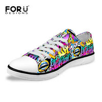Funny Graffiti Low Top Canvas Sneakers for Women Men Flat Casual Trainers Shoes