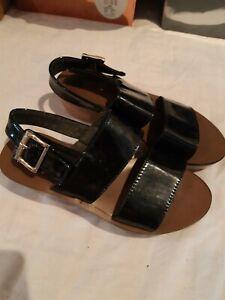 Black Patent Platform Sandals. Size 4
