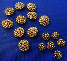 Lot: 16 Vintage Metallic Gold BUTTONS White Pinkish Rhinestones or Faux Pearls